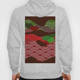 scales simple Nature background with japanese wave circle pattern dark brown burgundy maroon green Hoody