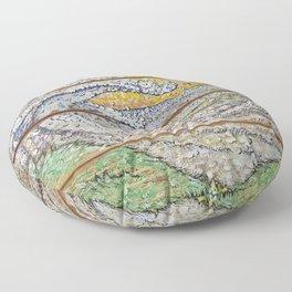 Waves on Grain Floor Pillow