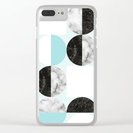 Mid Modern Moon and Sun Geometric Pattern - blue Clear iPhone Case