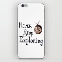 never stop exploring iPhone & iPod Skins featuring Never stop exploring by Bridget Davidson