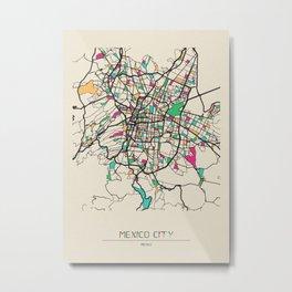 Colorful City Maps: Mexico City Metal Print