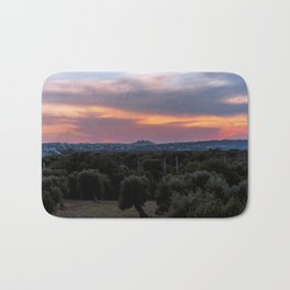 Panoramic view of the medieval white village of Ostuni at sunset Bath Mat