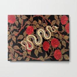 Snake Bones and Roses Metal Print