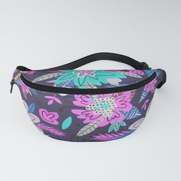 Blue and pink wildflowers on a purple background. Summer mood. Fanny Pack