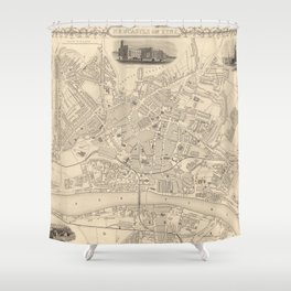 Vintage Map of Newcastle England (1851) Shower Curtain