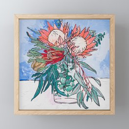 Painterly Vase of Proteas, Wattles, Banksias and Eucayptus on Blue Framed Mini Art Print