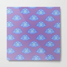 Lotus Pattern Violet/Lila Metal Print