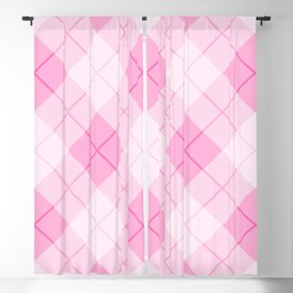 Pink Plaid Pattern Blackout Curtain