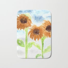 Watercolor  3 Sunflowers Bath Mat