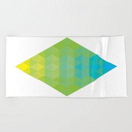 Yellow Cyan Diamond Gradient Beach Towel