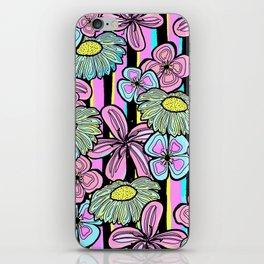 Pinstriped Florals in Pink & Aqua iPhone Skin
