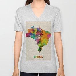 Brazil Watercolor Map Unisex V-Neck