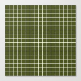 Army green - green color -  White Lines Grid Pattern Canvas Print