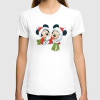 minnie mouse T-shirts featuring Christmas Mickey Mouse and Minnie Mouse by Yuliya L