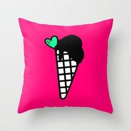 Neon Pink Snow Cone Icecream Throw Pillow