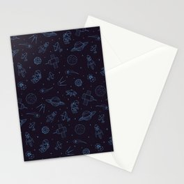 Blue Space Pattern Stationery Cards
