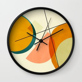 mid century geometric shapes painted abstract III Wall Clock