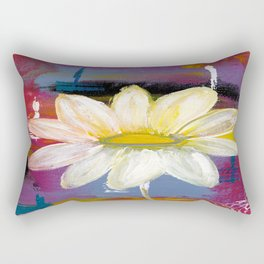 White Daisy Rectangular Pillow