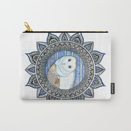 Winter Barn Owl Mandala Carry-All Pouch