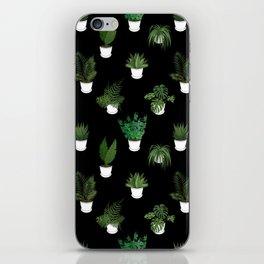 Houseplants Illustration (black background) iPhone Skin