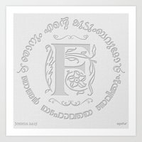 Joshua 24:15 - (Letterpress) Monogram F Art Print