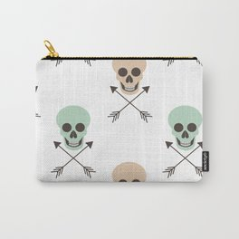 abstract pattern background illustration with human skulls and arrows Carry-All Pouch