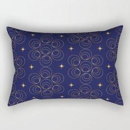 Abstract Faux Gold Circles and Stars Pattern Indigo Blue Rectangular Pillow