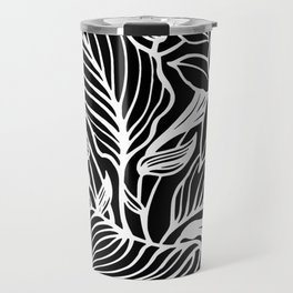 Black White Floral Minimalist Travel Mug