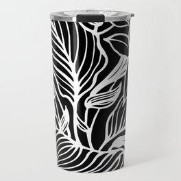 Black White Floral Minimalist Travel Mug