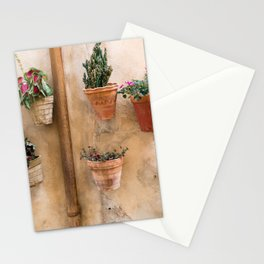 Pretty old wall with flower flower pots in Mallorca Stationery Cards