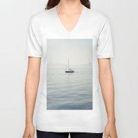 sailboat V-neck T-shirts featuring Sailboat by Jakub Majewski