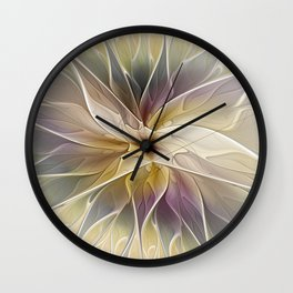 Floral Fantasy, Abstract Fractal Art Wall Clock