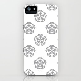 Gray Floral Checkered geometric pattern iPhone Case