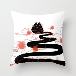 black cat with red string Throw Pillow