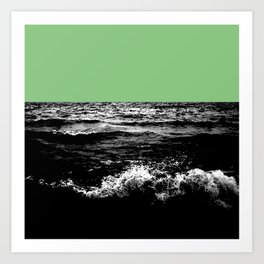 Black Wave w/Mint Green Horizon Art Print