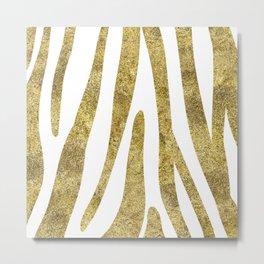 Golden exotics - Zebra and crisp white Metal Print