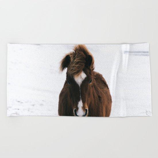 Snowy Horse Beach Towel