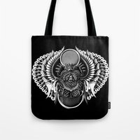 egyptian Tote Bags featuring Egyptian Scarab by BIOWORKZ