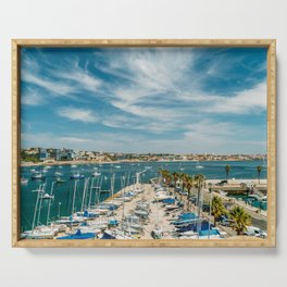Luxury Yachts And Boats In Cascais Port At Atlantic Ocean, Wall Art Print, Luxury Resort Art, Poster Serving Tray