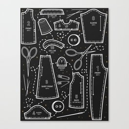 Sewing the Stars! Black Canvas Print