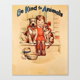Vintage Be Kind To Animals - Girl Canvas Print