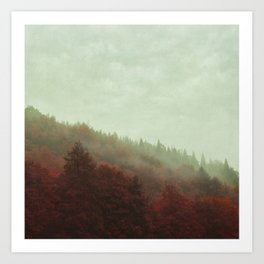 Retro Red Forest in Mist Art Print