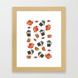 Tea set pattern  Framed Art Print