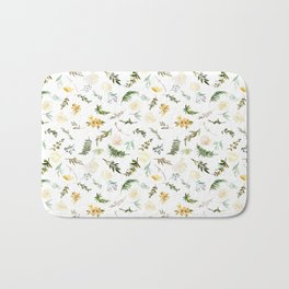Hand painted green yellow watercolor leaves floral Bath Mat