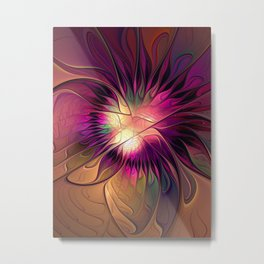 Flowering Fantasy, Abstract Fractal Art Metal Print