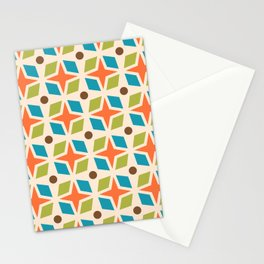 Mid Century Modern Abstract Star Dot Pattern 441 Orange Brown Turquoise Chartreuse Stationery Cards