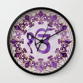 Amethyst and gold Ek Onkar / Ik Onkar symbol Wall Clock
