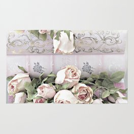 Shabby Chic Dreamy Pink Roses Cottage Floral Decor Rug