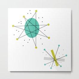 Teal Mid Century Modern Atomic Age Pattern Metal Print