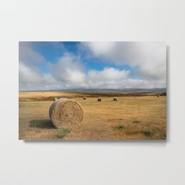 A Day on the Prairie - Round Hay Bales on Golden Landscape in South Dakota Metal Print